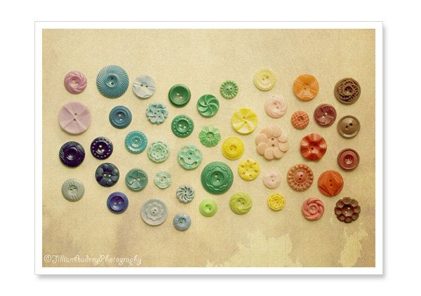 Rainbow Vintage Buttons Photograph  5x7 by JillianAudreyDesigns, $13.00