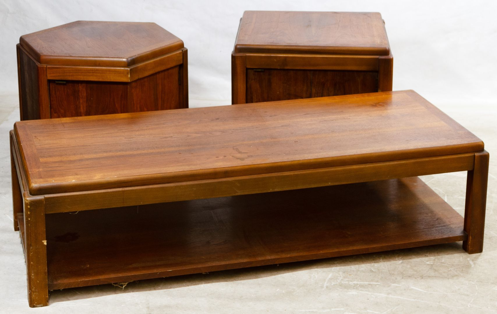 Lot MCM Table Assortment By Lane Including A Rectangular - Six sided table