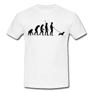 Die Evolution Der Menschheit Uber Eine Affen Ein Neandertaler Bis Hin Zum Modernen Menschen Der Mit Sein Dackel Gassi Geht Shirts T Shirt Und Dackel