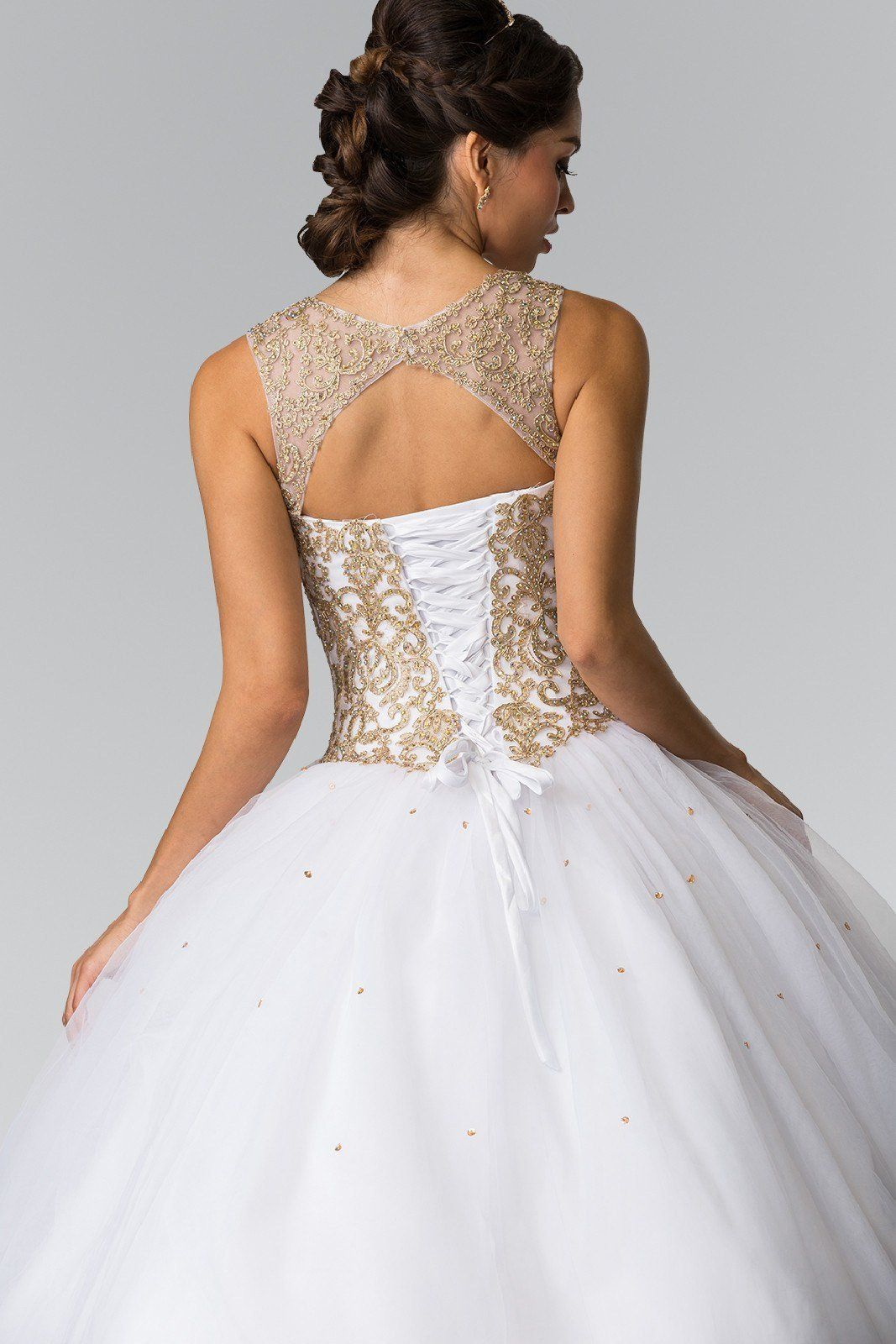 aed7b450ac Beautiful prom ball gown and Quinceanera dress. A gold lace bodice with  puffy tulle skirt