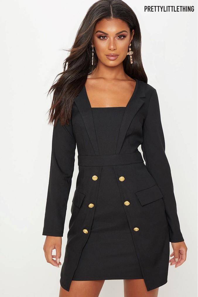 47a9573ef865 Womens PrettyLittleThing Tuxedo Military Blazer Dress - Black ...
