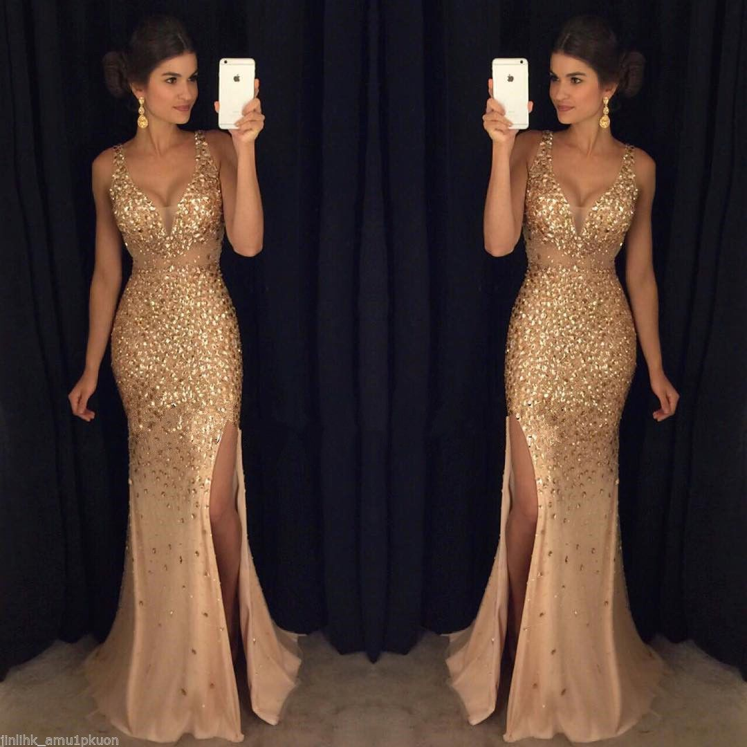Nice new gold sequins mermaid evening dresses side split long