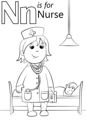 N Is For Nurse Coloring Page From Letter N Category Select From