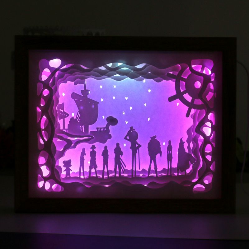 Automatically Color Change Paper Craft Shadow Picture Box Frame 3d ...