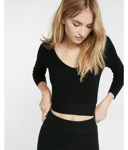 Cross Back Tie Sweater Black Women's X Small