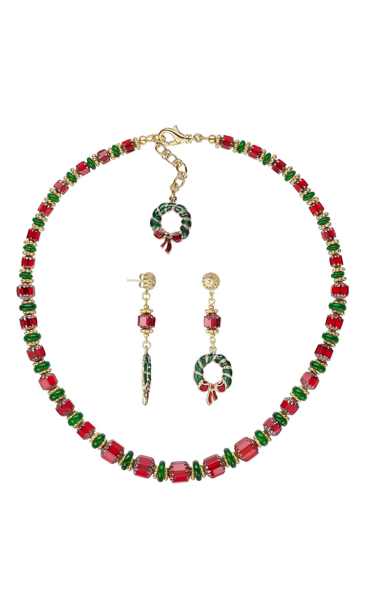 jewelry design single strand necklace and earring set with czech
