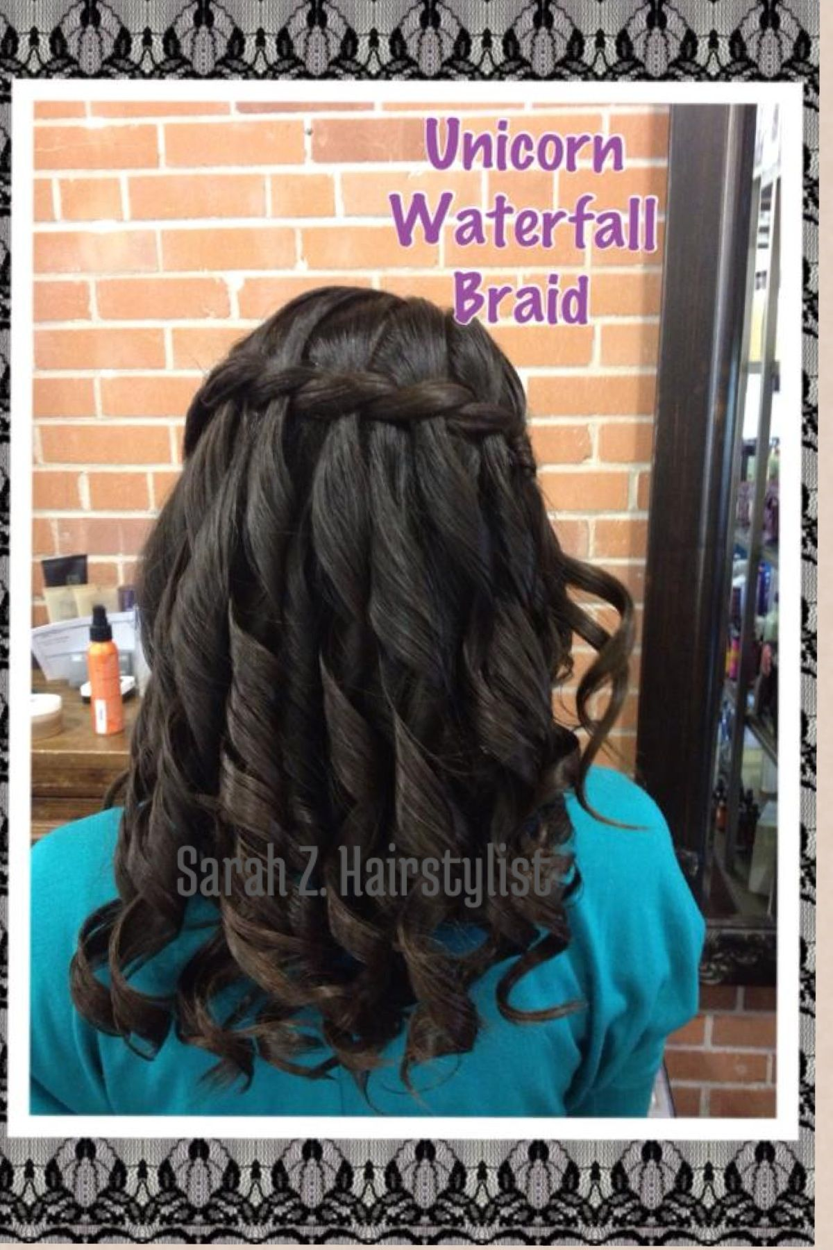 A unicorn waterfall braid is when the strands are twisted around