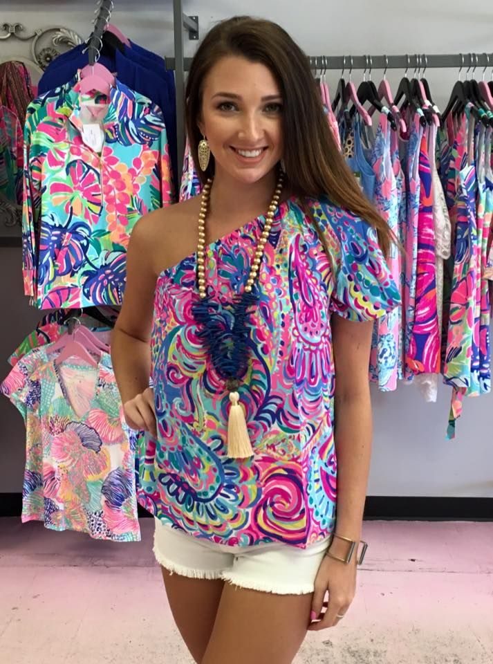 555d73d78e3 Fifer One Shoulder Top-Psychedelic Sunshine $138. Call us to order!  910-483-0733