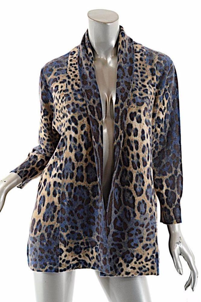 Details about NEIMAN MARCUS 100% Cashmere Tan/Blue Leopard ...