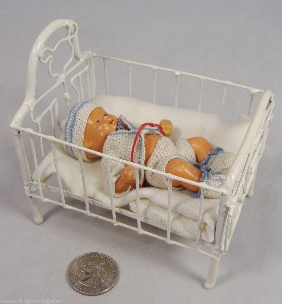Vintage 1:12 Dollhouse Miniature White Enamel on Metal Crib w/ Bisque Baby Doll