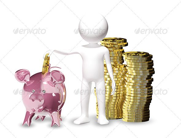 Man with Piggy Bank by brux man with piggy bank 3d illustration of a man with piggy bank JPEG 56404231, PNG 56404231 created in 3ds max