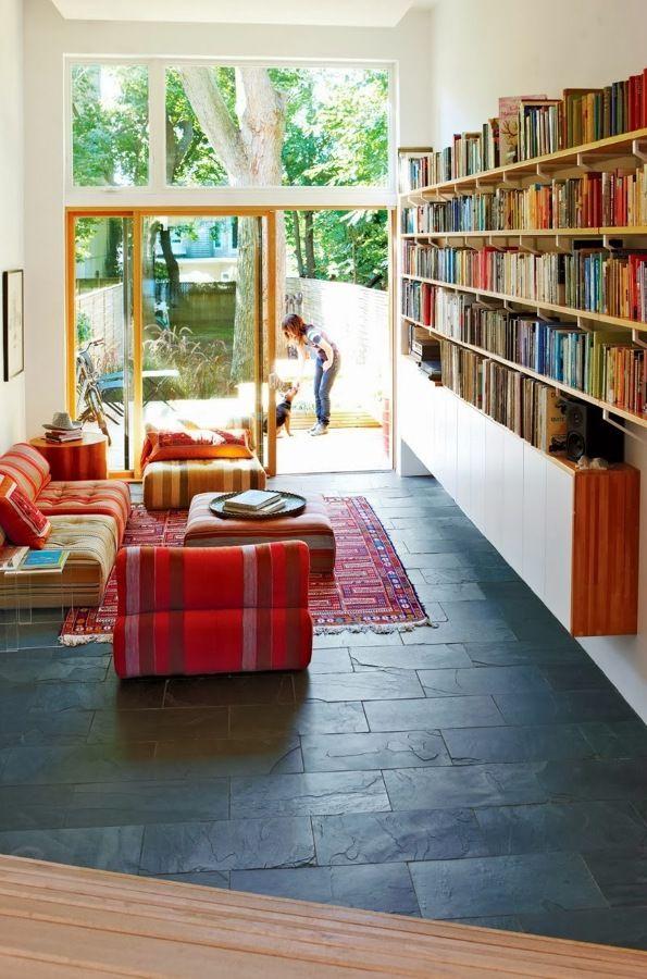 ardosia no piso biblioteca cores cinza, grey, gris Pinterest