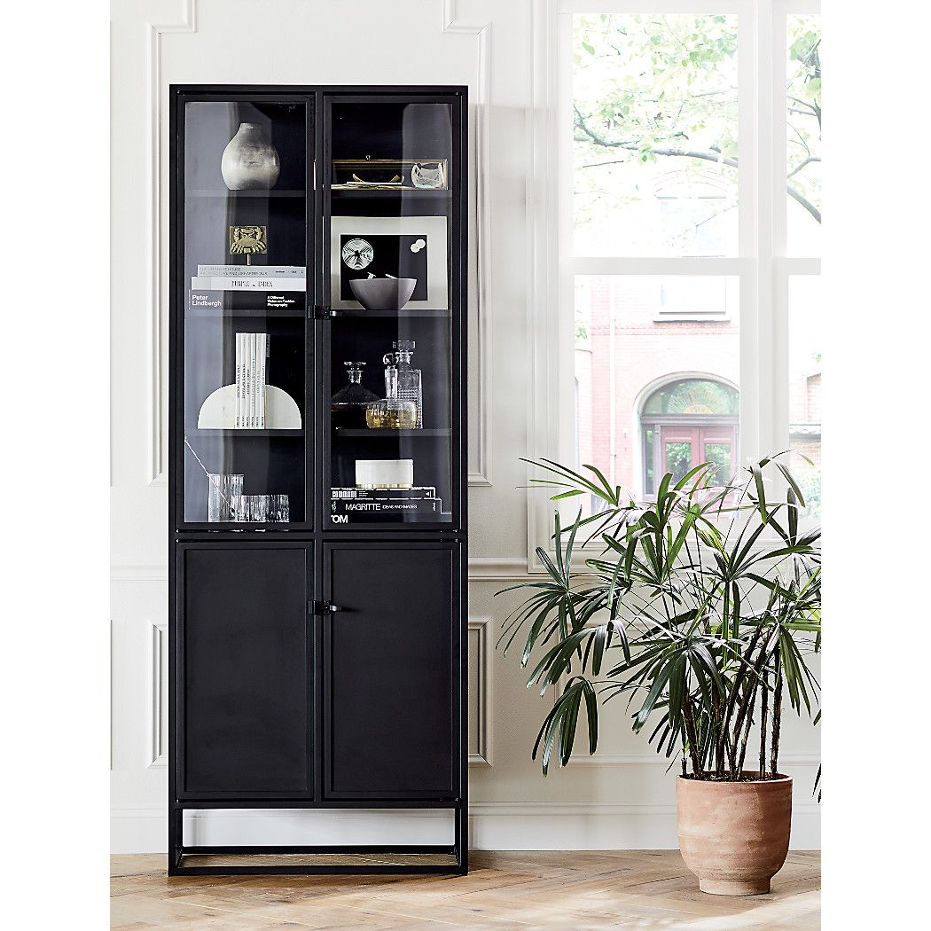 Casement Tall Black Cabinet Reviews Crate And Barrel In 2020 Dining Room Cabinet Glass Kitchen Cabinets Living Room Display Furniture