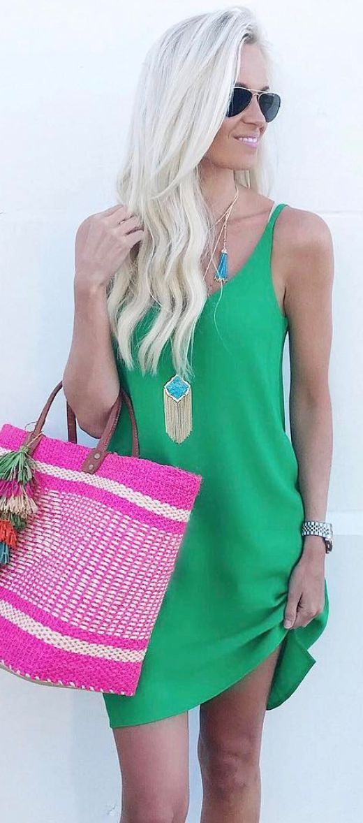 green cami slip dress