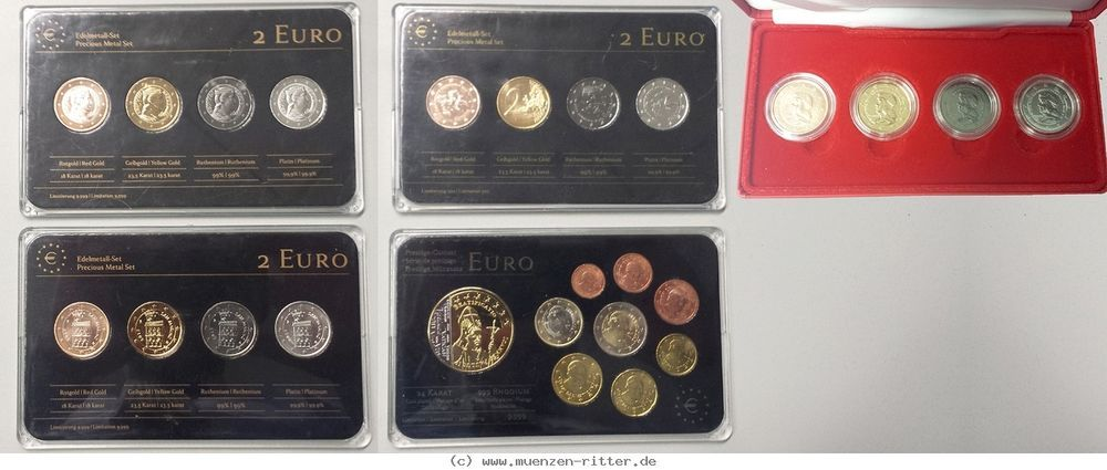 Ritter Lettlandmonacosan Marino 4x 2 Euro Sätze Vatikan Euro Kms