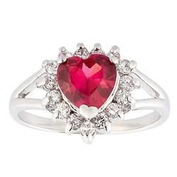 Heart Cut Red Ruby with White Topaz Accents