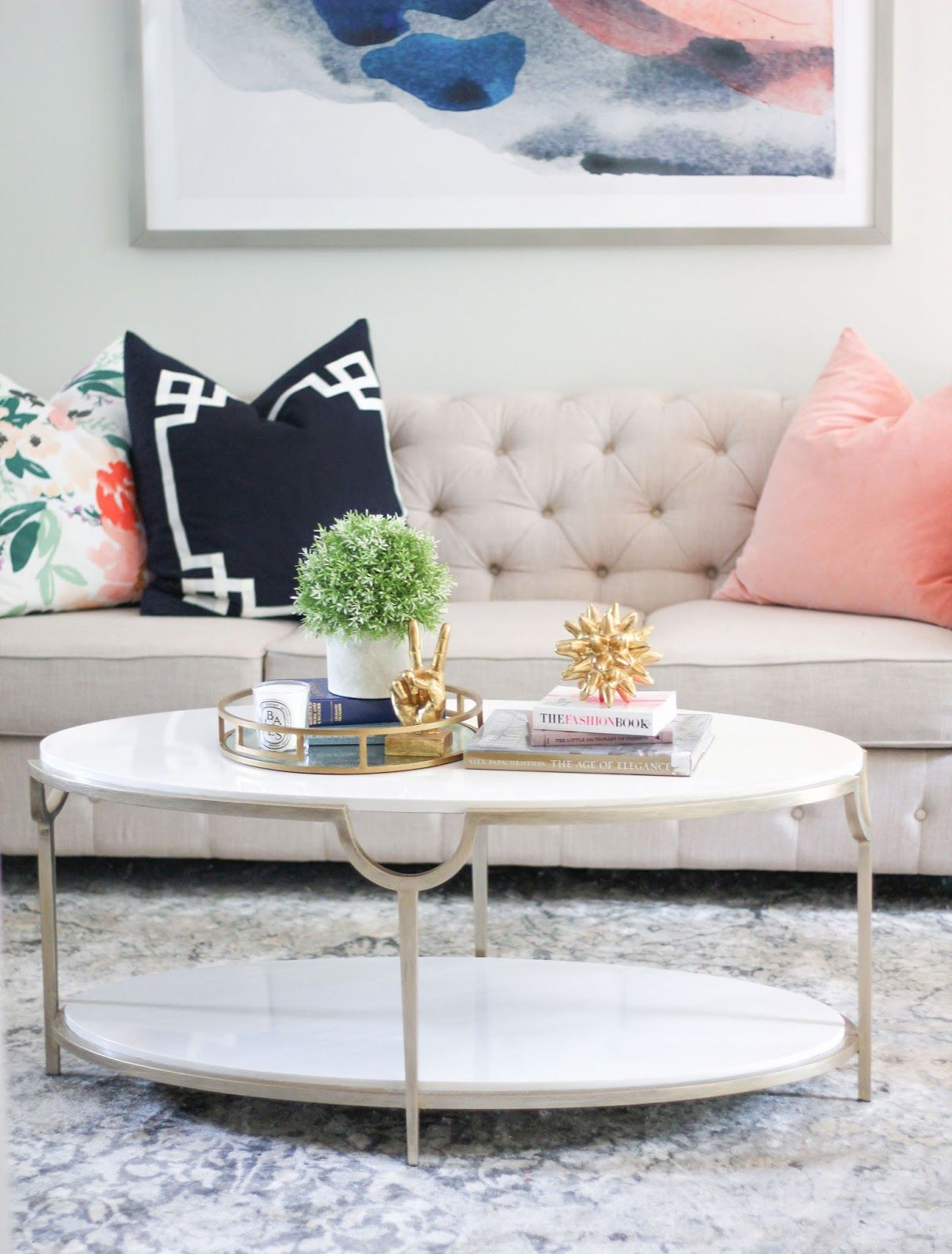Living Room, Marble Coffee Table, Tufted Sofa, Light And Airy Living Room Part 34