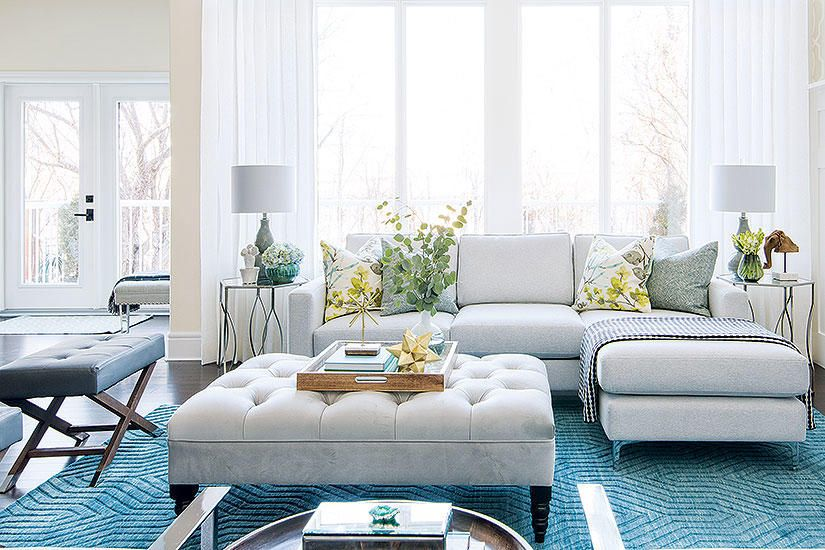 a light and bright living room splashed with oceanic hues on extraordinary living room ideas with lighting id=17688