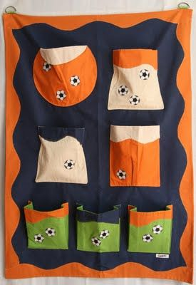 wall organizer with soccer ball design