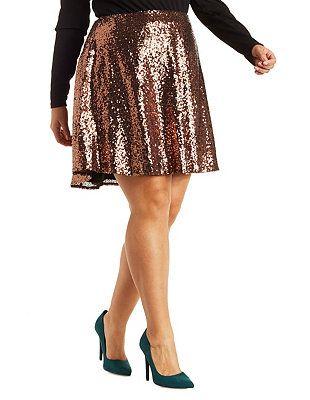 de6d1d6b1bcc Plus Size Sequin Skater Skirt: Charlotte Russe | Curvy Fashionista ...