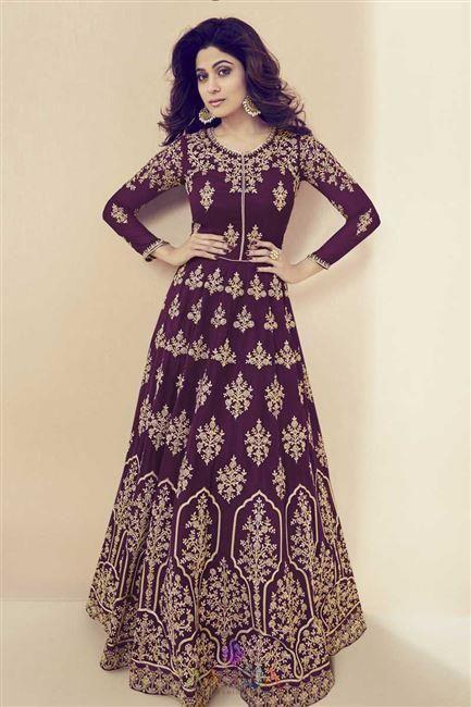 f9658b36b4 Shamita Shetty Georgette Embroidered Function Wear Long Anarkali Suit
