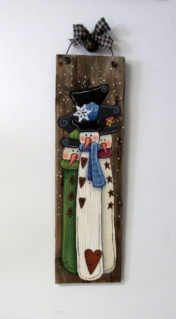 Three Snowmen Hand Painted on Barn Wood, Winter Wall Hanging Art, Rustic Barn Wood, Reclaimed Barn Wood, Snowmen, Tole Painted, Primitive: