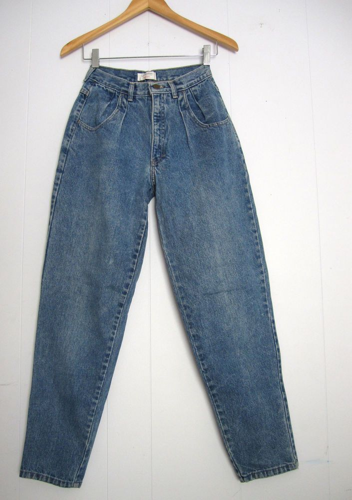 """Vintage 80s 90s High Waisted Mom Jeans Blue Tapered Leg Pleated Front Denim 22"""" #momjeans #90s #fashion #jeans #90sfashion"""