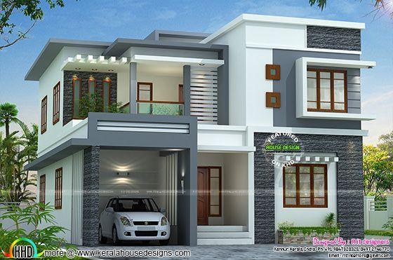 2767 Sq Ft Flat Roof Style Home Kerala Home Design Kerala