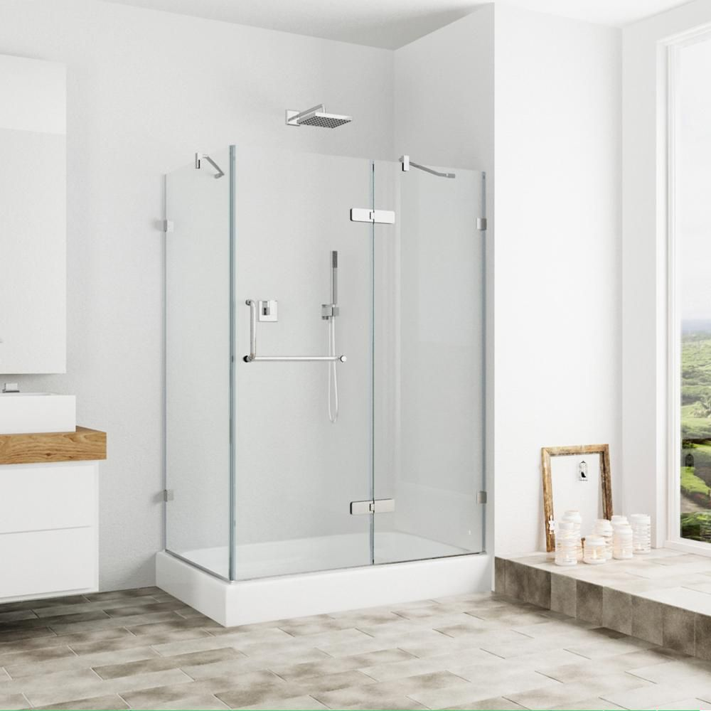 Monteray 40 25 Inch X 79 25 Inch Frameless Hinged Shower Door In Chrome With Clear Glass With Right Opening And Base Frameless Shower Enclosures Shower Enclosure Frameless Shower