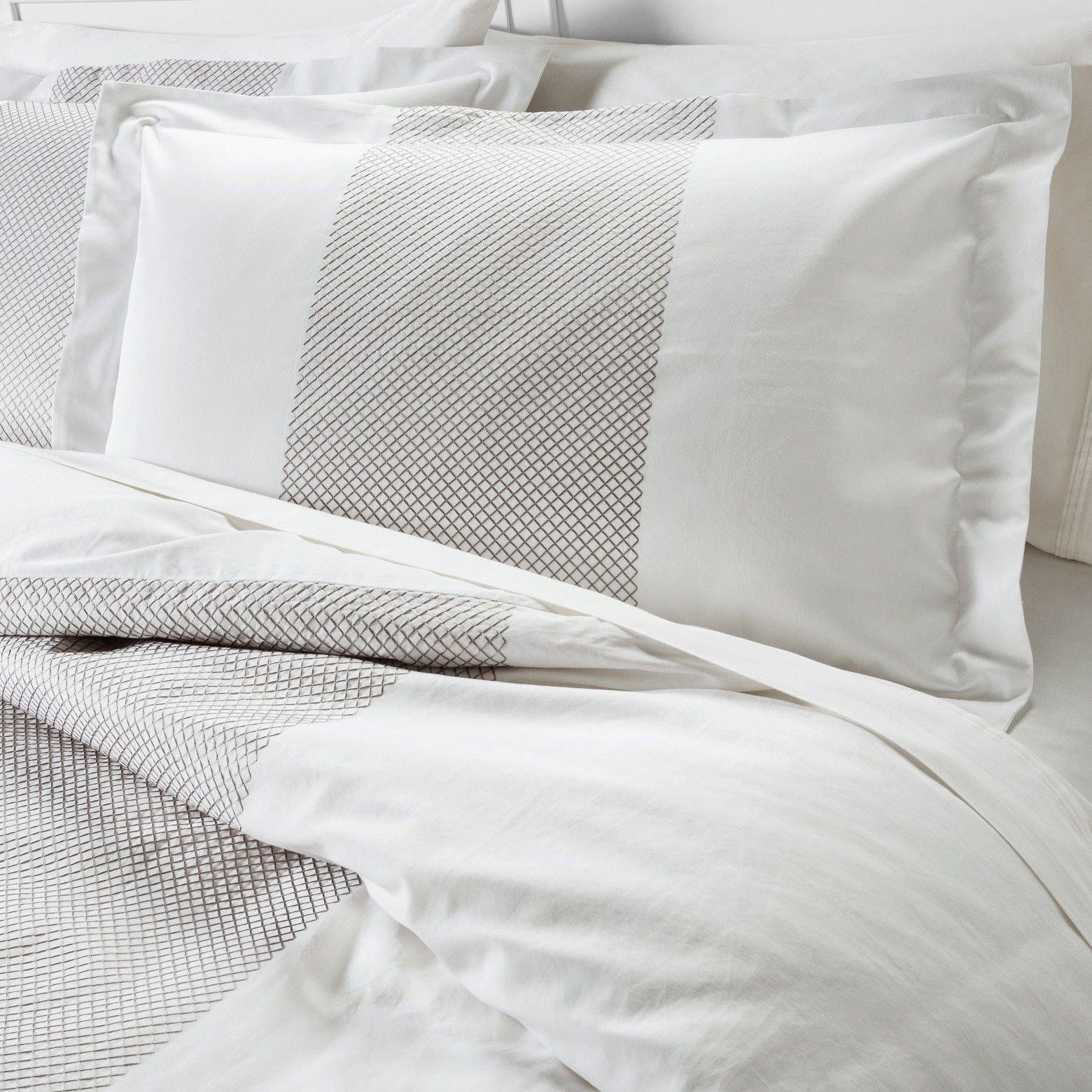 Give Your Bedding An Elegant Update With The Fieldcrest Luxury Embroidered Band Duvet Sham Set