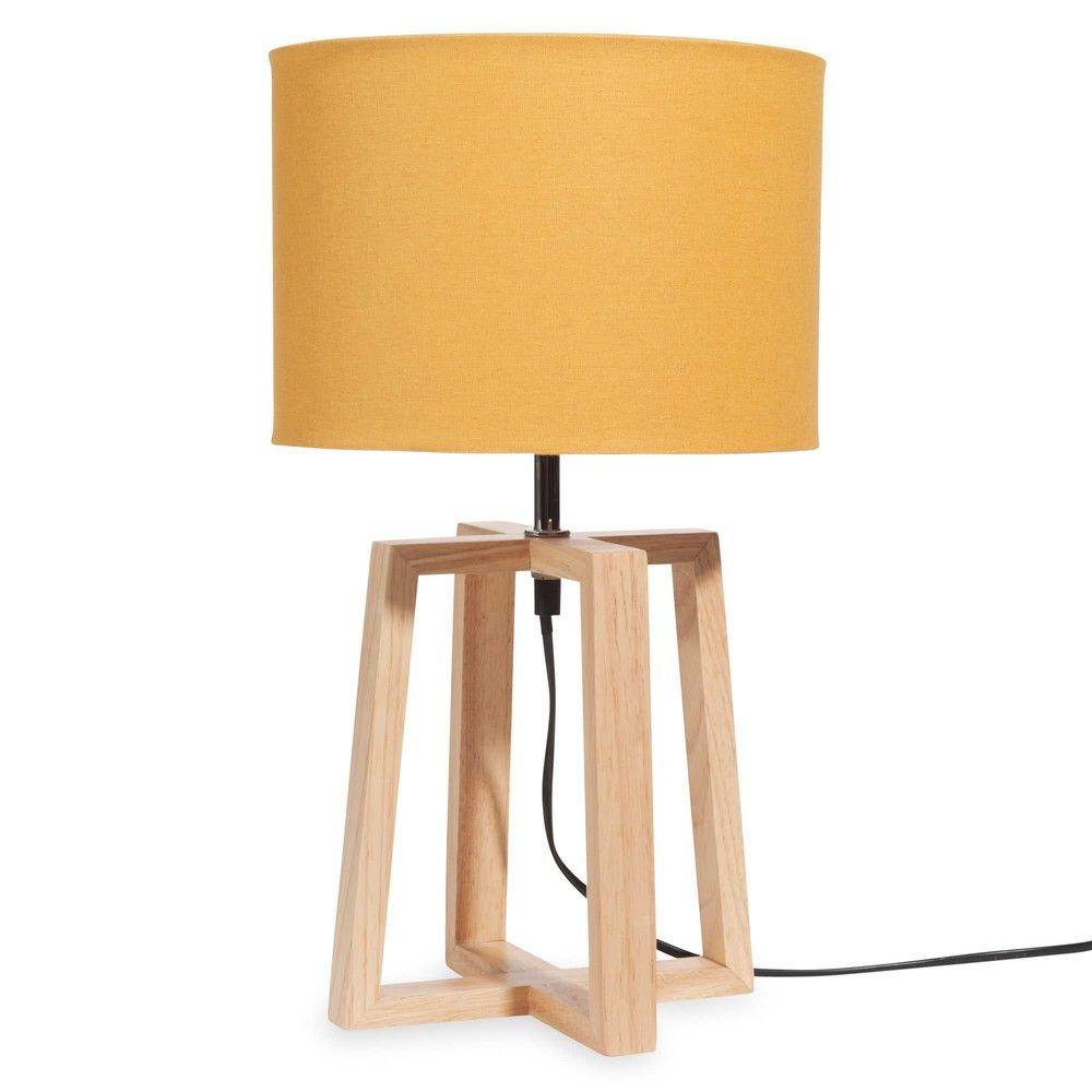 Lampe En Bois Avec Abat Jour Jaune H 44 Cm Maisons Du Monde