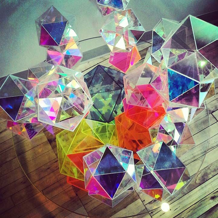Glass Prism Table Reflects Dazzling Rainbows