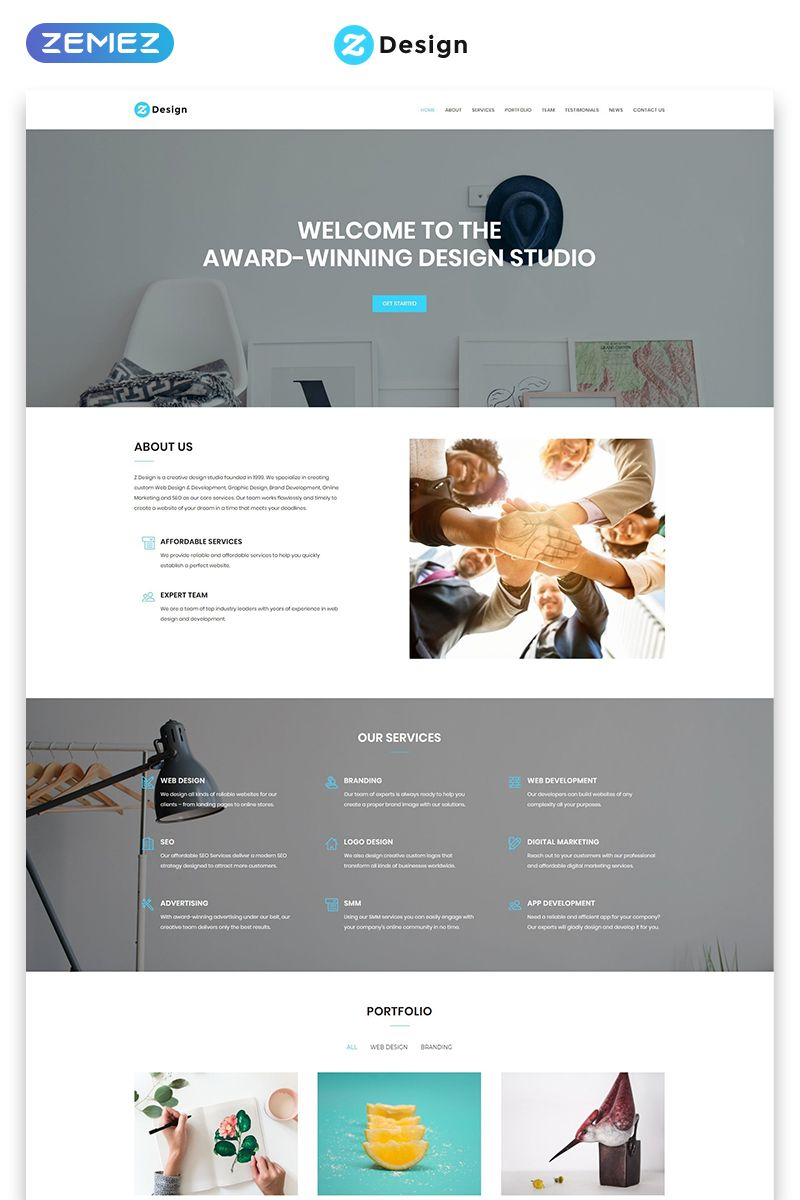Z Design Design Studio Html Landing Page Template Page