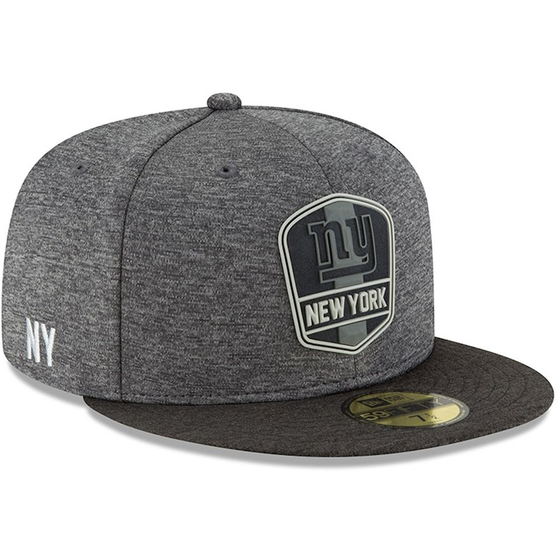 size 40 27a5b 46771 New York Giants New Era 2018 NFL Sideline Road Black 59FIFTY Fitted Hat –  Heather Gray Heather Black