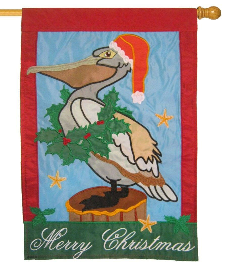 Santa Pelican Double Applique House Flag House Flags Christmas Garden Flag Coastal Christmas