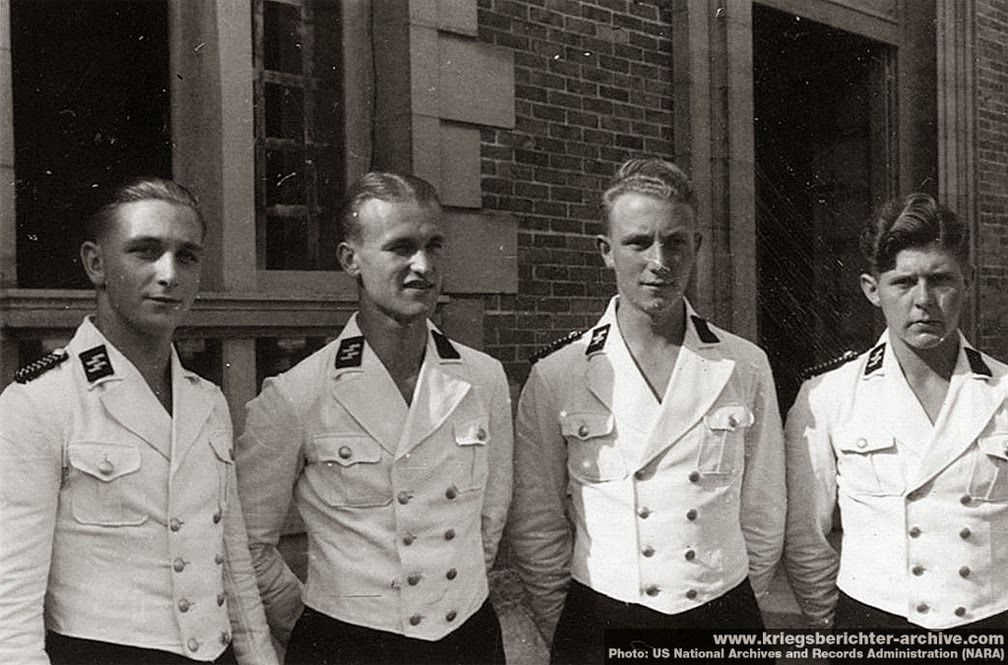 Hitler's personal staff waiters in their ss waiters dress jackets chosen by members of the leibstandarte SS Adolf Hitler