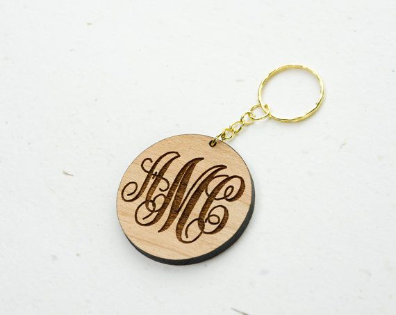 Wooden Monogram Keychain  Personalized Engraved by CardinalGift