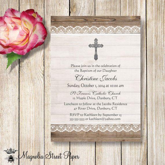 Printable Baptism Invitation, Printable Christening Invitation, Lace - invitation for baptism girl