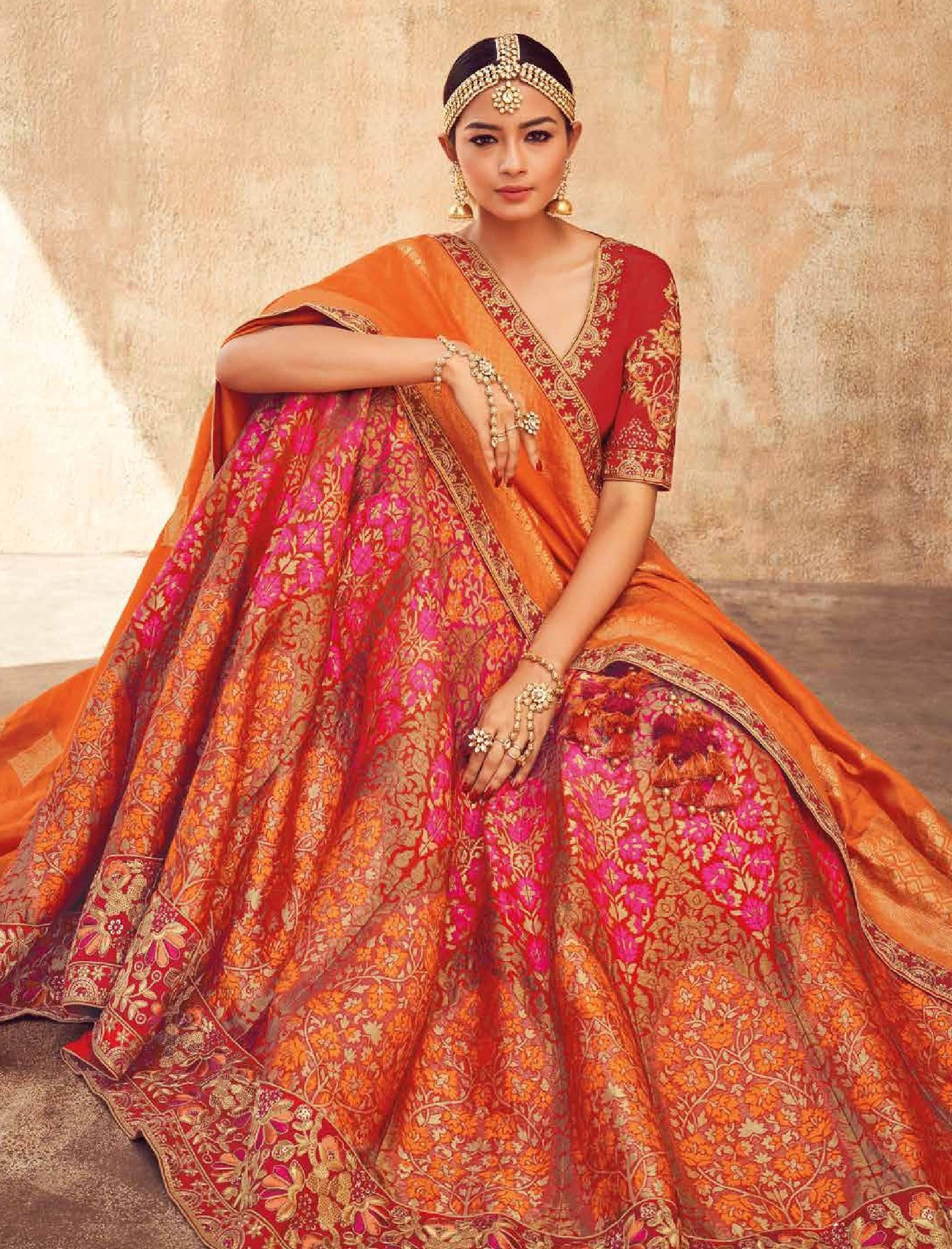 56cab38952 Buy Pink orange and red Indian silk wedding lehenga in UK, USA and Canada