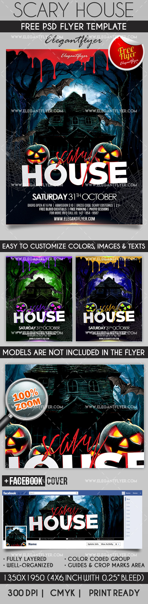 Scary House – Flyer PSD Template | Scary houses, Psd templates and ...