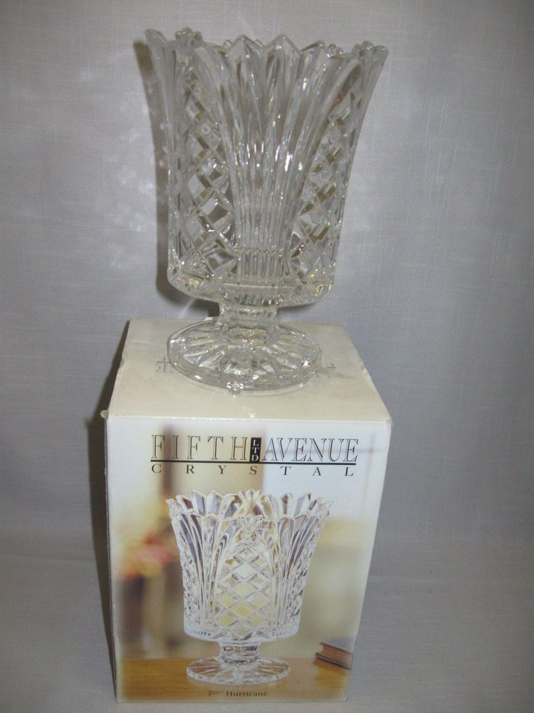 Fifth Avenue Crystal Glass Hurricane Candle Stick Holder Candy Dish