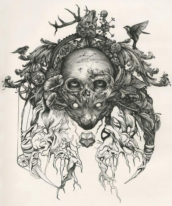 BIOFUSION by DZO Olivier on Behance Drawing   Illustration   Pen   Ink   Ilustração   Draw   Desenho  