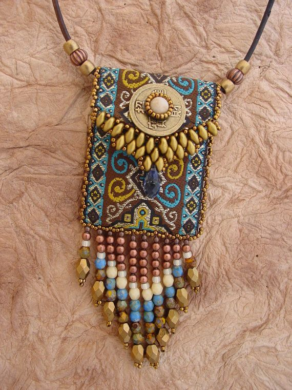 #bohemian Necklace #Ribbon Bag < KIT in Blu> | #jewelry HeidiKummliDesigns https://www.etsy.com/listing/227560681/ribbon-bag-kit-in-blue?utm_source=Pinterest&utm_medium=PageTools&utm_campaign=Share