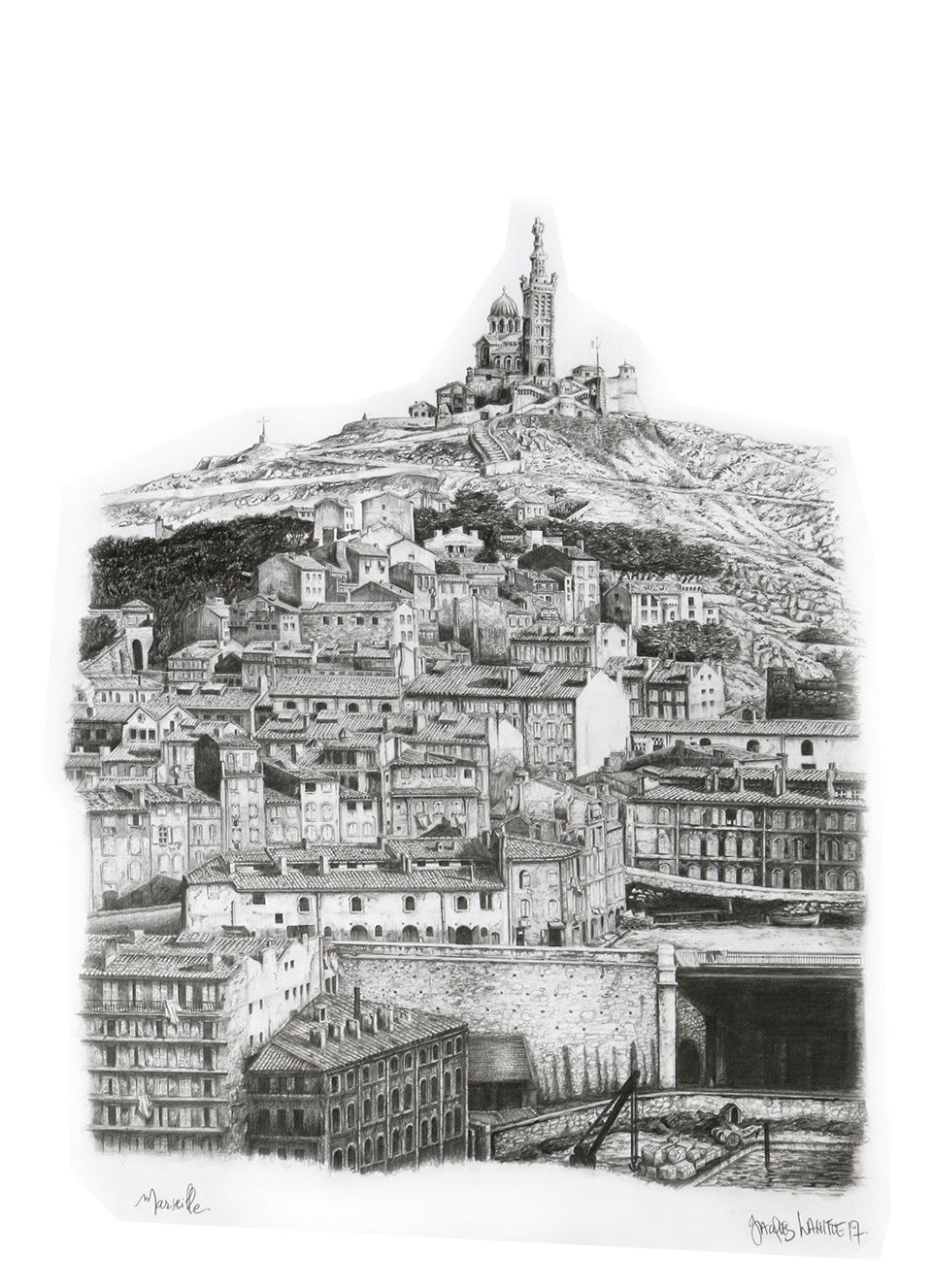 Landscape marseille france drawing by jacques lahitte