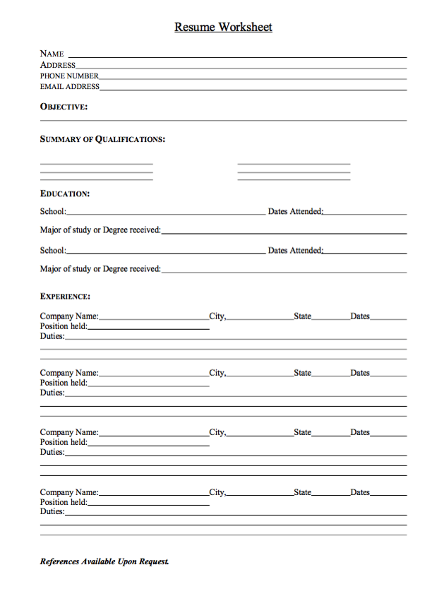 Sample Resume Worksheet httpexampleresumecvorgsampleresume