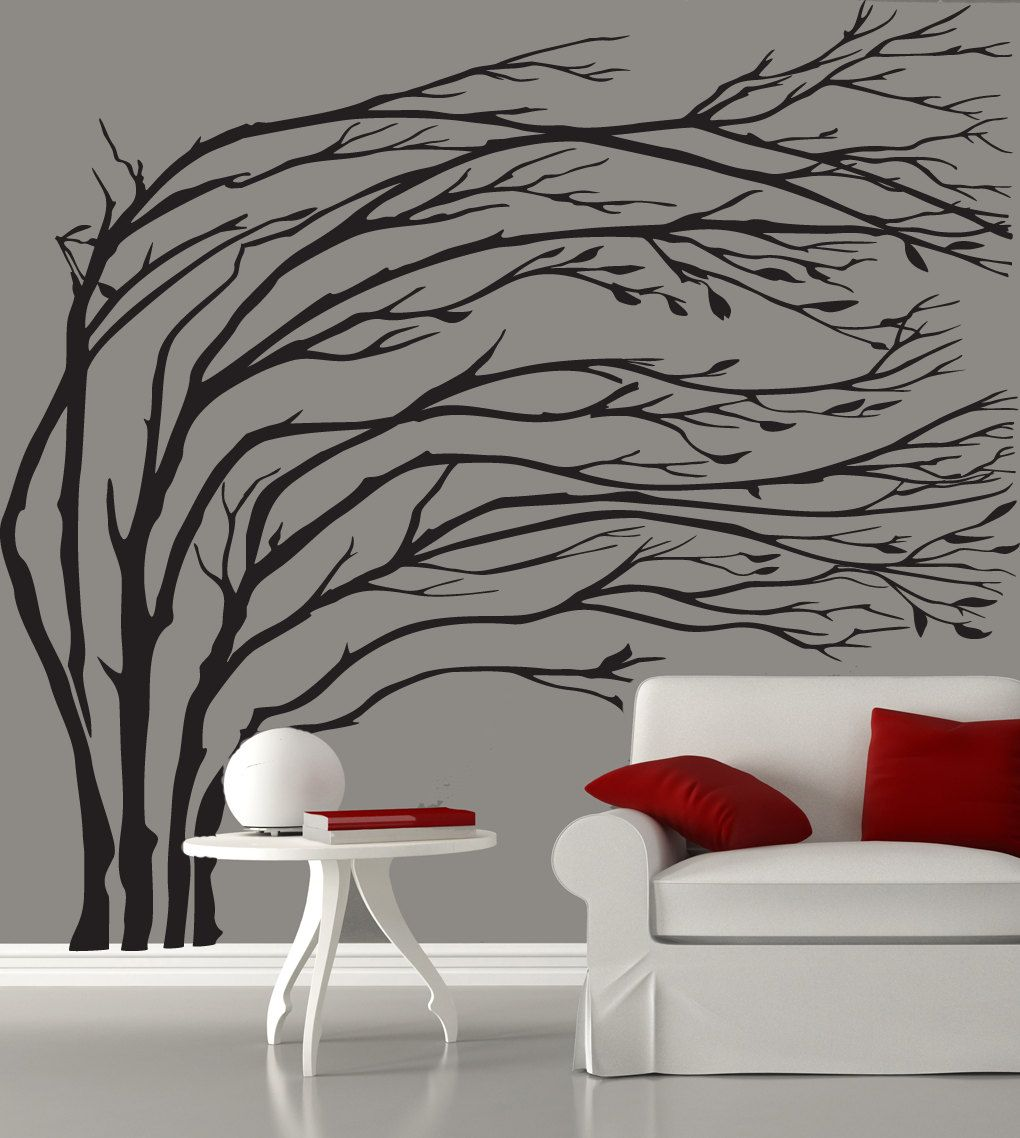 Modern Black Blowing Tree Wall Decal Silhouette By Couturedecals