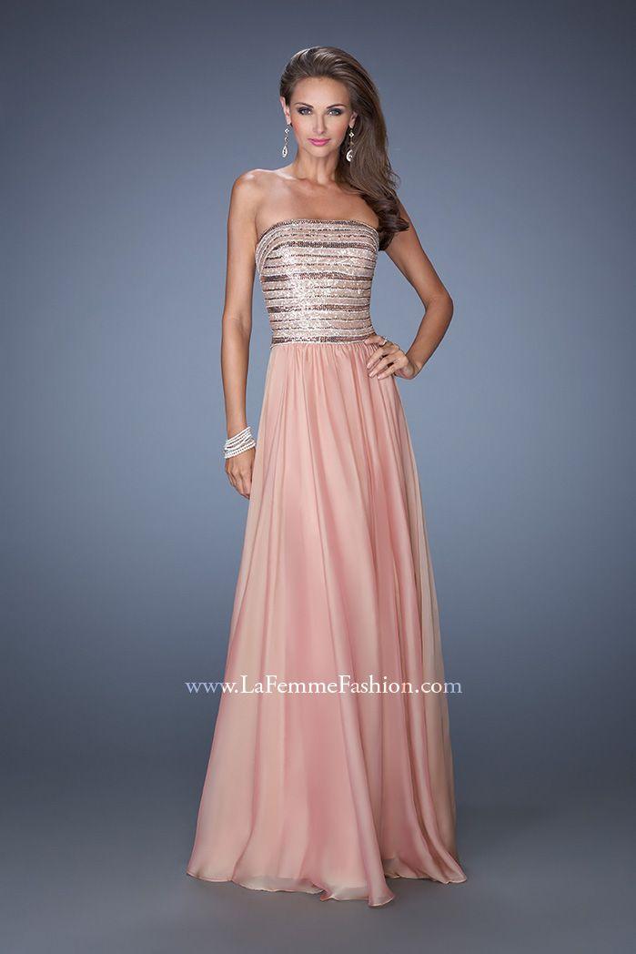 La Femme 19398- long chiffon prom dress- chiffon prom dress- pink ...