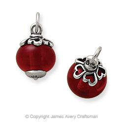 James Avery Art Glass ~ Heart Finial With Deep Red Charm...