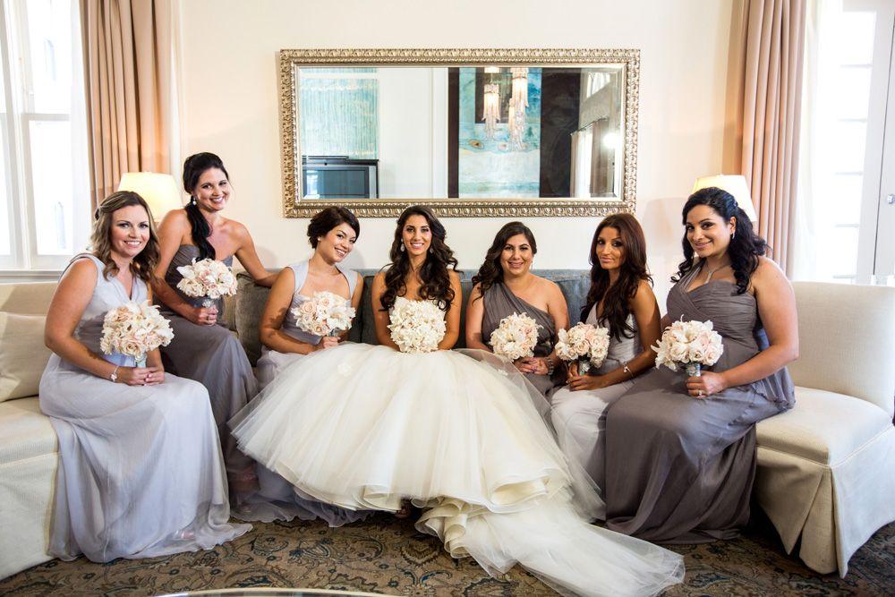 Amsale bridesmaids wear Dove and Graphite Crinkle Silk Chiffon ...