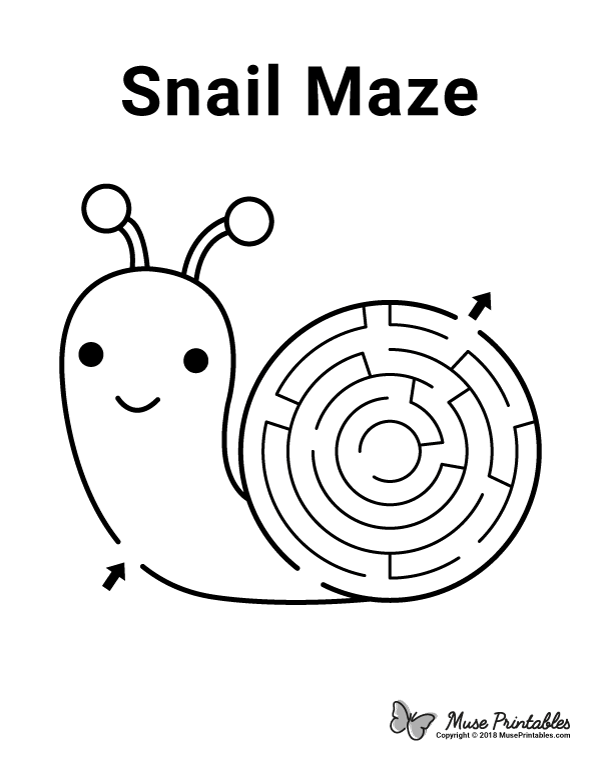 Free printable snail maze. Download it at https